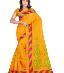 Buy YELLOW PRINTED bhagalpuri-silk saree with blouse shimmer-saree online