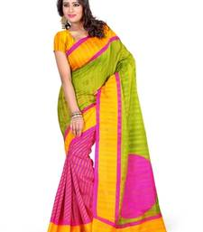 Buy GREEN PRINTED bhagalpuri-silk saree with blouse shimmer-saree online