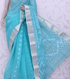 Buy Sea-Green hand-woven cotton saree with blouse cotton-saree online