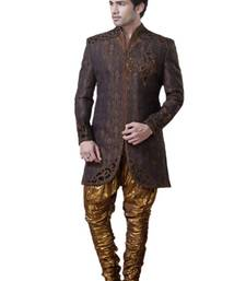 Buy Brown Banarsi Brocade Embroidered Indowestern Suit indo-western-dress online