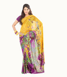 Buy Yellow-Purple- printed Georgette saree with blouse sonam-kapoor-saree online
