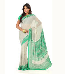 Buy Green-White printed Georgette saree with blouse priyanka-chopra-saree online