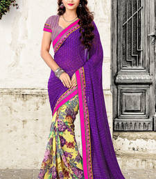 Buy Purple-multicolor printed Georgette saree with blouse sonam-kapoor-saree online
