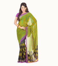 Buy Yellow-multicolor printed Georgette saree with blouse priyanka-chopra-saree online