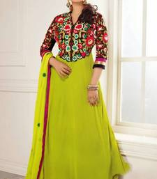 Buy Parrot-green embroidered georgette semi-stitched salwar with dupatta anarkali-salwar-kameez online