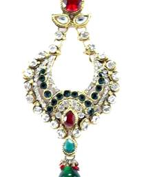 bridal maroon green kundan cz gold tone jhoomar passa hair accessories ps1 shop online