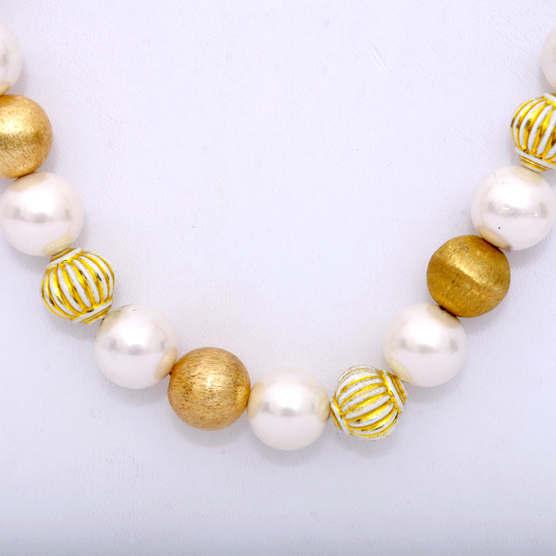 Buy Long Pearls Multi String With Pearls Jaipuri And Gold