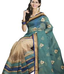 Buy Green, Beige, Blue embroidered art-silk saree with blouse art-silk-saree online