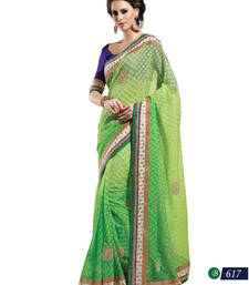 Buy Green embroidered jute-cotton saree with blouse jute-saree online