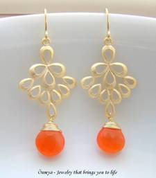 Buy Peacock Feathers - Orange danglers-drop online