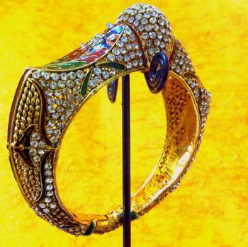 Ethnic Kada with Studded Stones and Meenakari Work