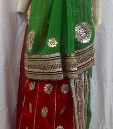 Red-Green Gotta Patti Heavy Work Lehenga