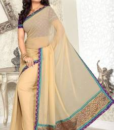 Buy Faux Georgette Beige Color Designer Saree georgette-saree online