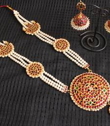 Buy GORGEOUS PEARL LONG TEMPLE NECKALCE SET WITH MATCHING EARRINGS south-indian-jewellery online