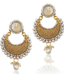 Buy Beautiful Elegant White Pearl Polki with Elegant White Stone, Pearls & Diamentes by ADIVA c24w TDS 7 danglers-drop online