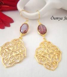 Buy Oriental earrings with amethyst coloured stone danglers-drop online